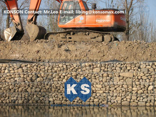 Cina Zinc Galvanised Wire Gabion Boxes / Gabion Cages For Flood Protection Products pemasok