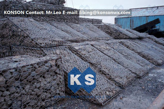 Cina Galfan Hexagonal Wire Mesh Woven Steel Gabion Boxes With ASTM A975-97 Standard pemasok